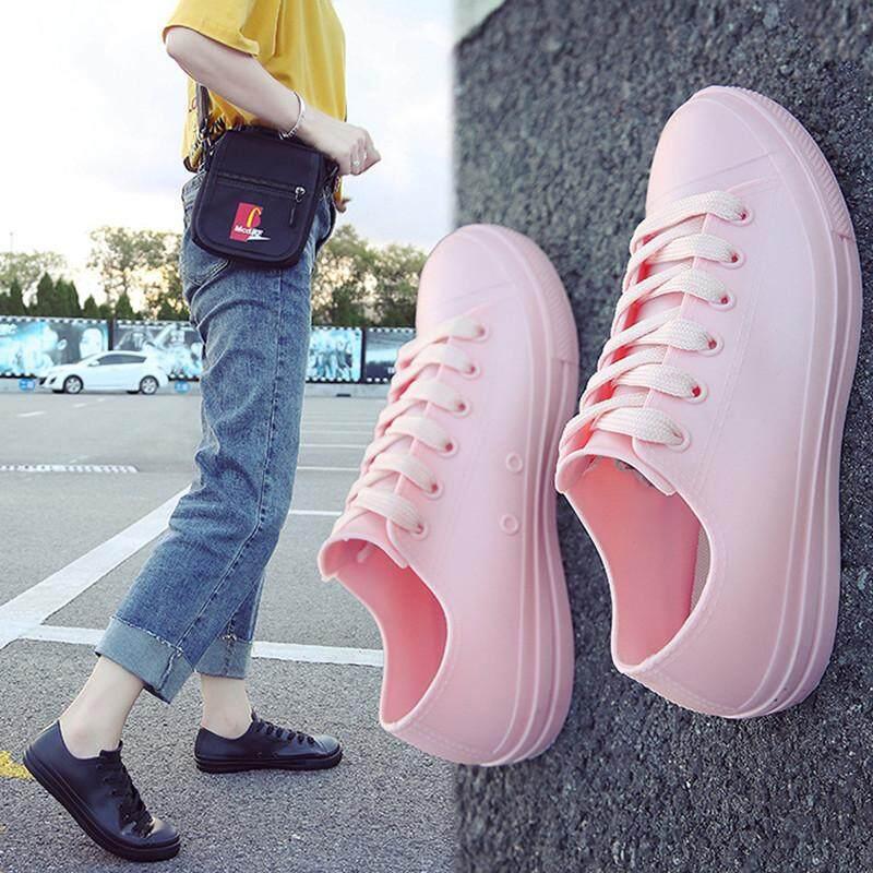 Sepatu Fashion Wanita Rendah Untuk Membantu Pu Sepatu Bot Hujan Mahasiswa Tidak Sneaker Tanpa Tali By Ycitshop.