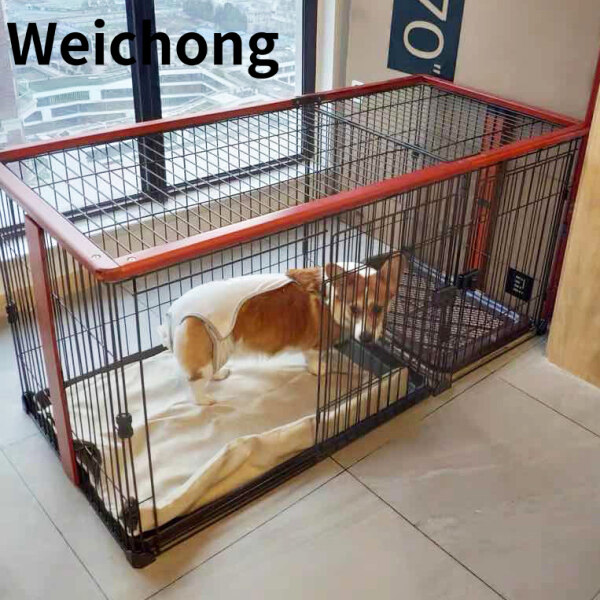 Weichong Wei pet dog cage with toilet solid wood small dog medium-sized pet dog fence fence indoor cat cage kennel