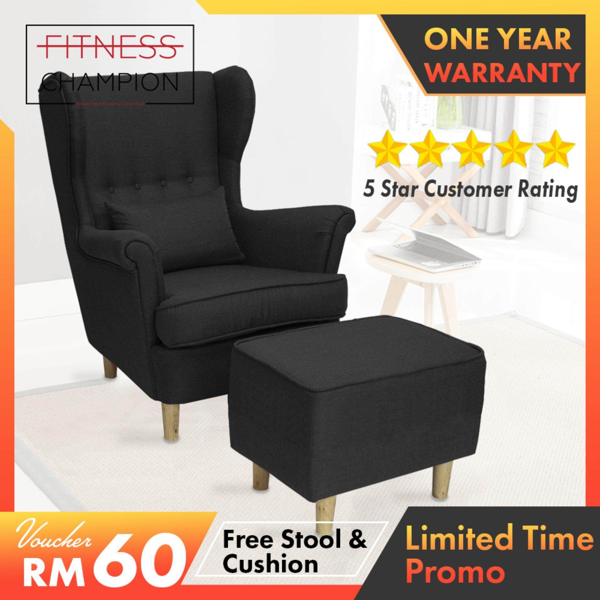 READY STOCK Now- FITCHAMP: RAYLEIGH Canvas Fabric High Back Wing Sofa Chair With FREE