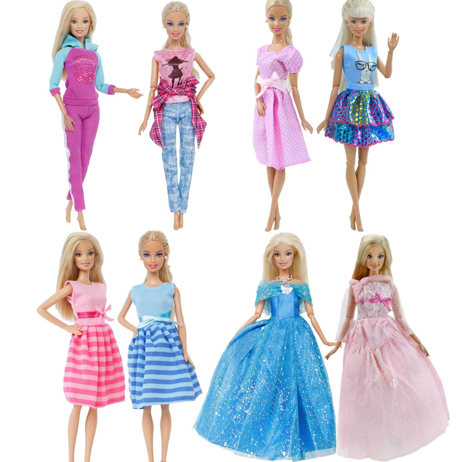 cee77a563d5 JM 2 Pcs / Lot Handmade Doll Dress for Barbie Doll Casual Daily Wear Twins  Outfit