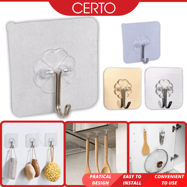 CERTO Magic Transparent Wall Hook Strong Adhesive Sticky Heavy Hanging Multipurpose Kitchen Bathroom Bedroom Home Penyangkut Dinding