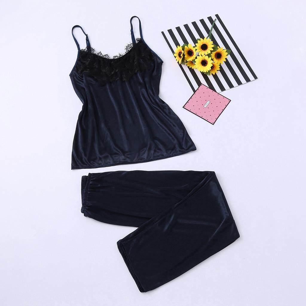 f29eb299f3 Aiipstore 2Pcs Ladies Sexy Satin Silk Sleepwear Babydoll Lingerie  Nightdress Pyjamas Suit