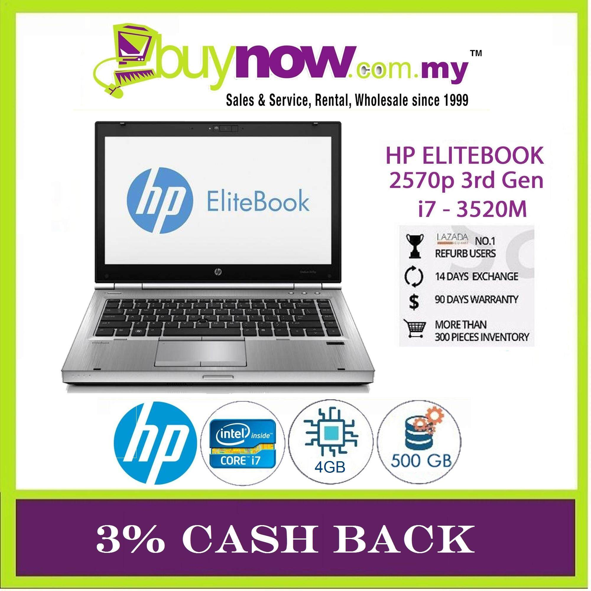 REFURBISHED LAPTOP HP ELITEBOOK 2570p 3rd Generation INTEL CORE i7 - 3520M / 4GB RAM/ 500GB HDD /  WINDOWS 7 PRO / FREE 1 YEAR BITDEFENDER TOTAL SECURITY 1 USER /FREE BAG / 3% CASHBACK. Malaysia