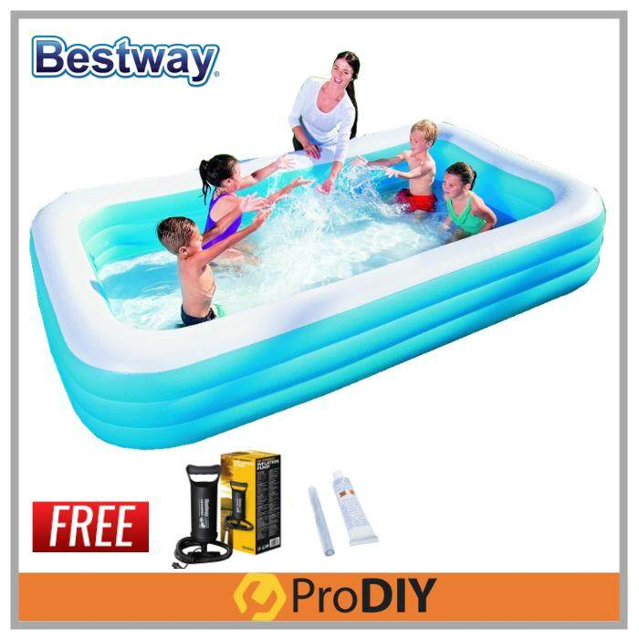 BESTWAY 54009 1161Liter Inflatable 3 Layers Swimming Pool Kolam Mandi Renang FOC Inflation Pump + Repair Kit