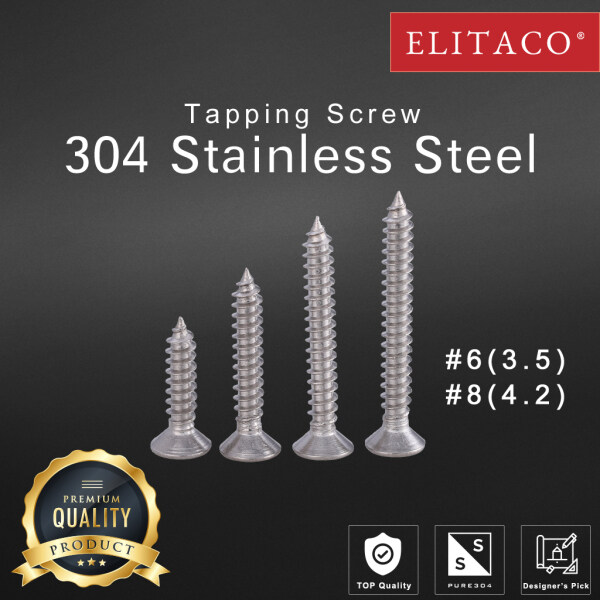 【ELITACO】20pcs #6 #8 304 Stainless Steel Flat Head water proof Tapping Screw 3.5 4.2 19mm 25mm 32mm 35mm 38mm 45mm 50mm