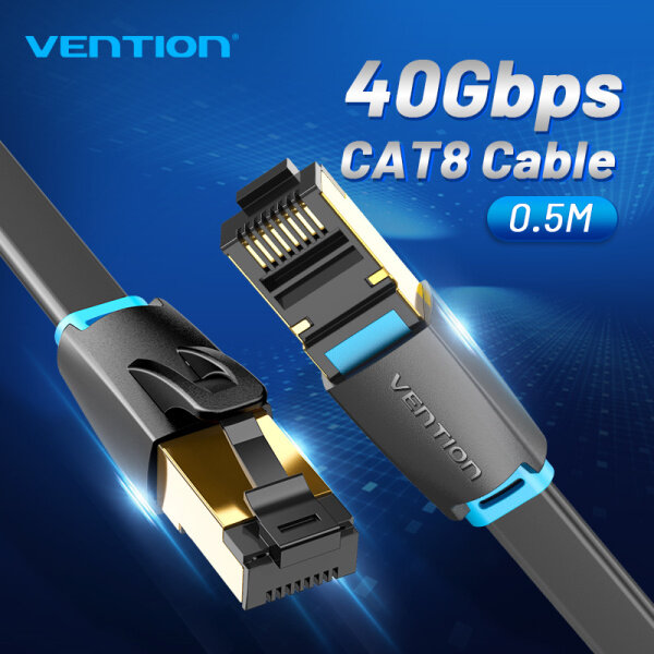 Vention Cat8 Ethernet Flat Cable SSTP 40Gbps Super Speed RJ45 Network Internet Cable Gold Plated 1m/3m/5m/8m Connector for PC Router Modem CAT 8 Lan Cable