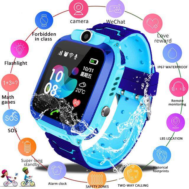 HiQueen Kids Smart Watch Q12B Phone Watch for Android IOS Life Waterproof  LBS Positioning 2G Sim Card Dail Call