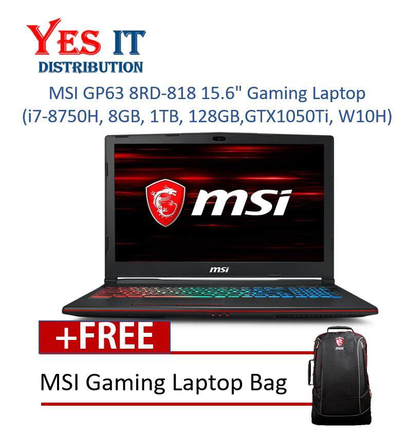 MSI GP63 8RD-818 15.6 Gaming Laptop(i7-8750H, 8GB, 1TB, 128GB, NV GTX1050Ti, W10H) Malaysia