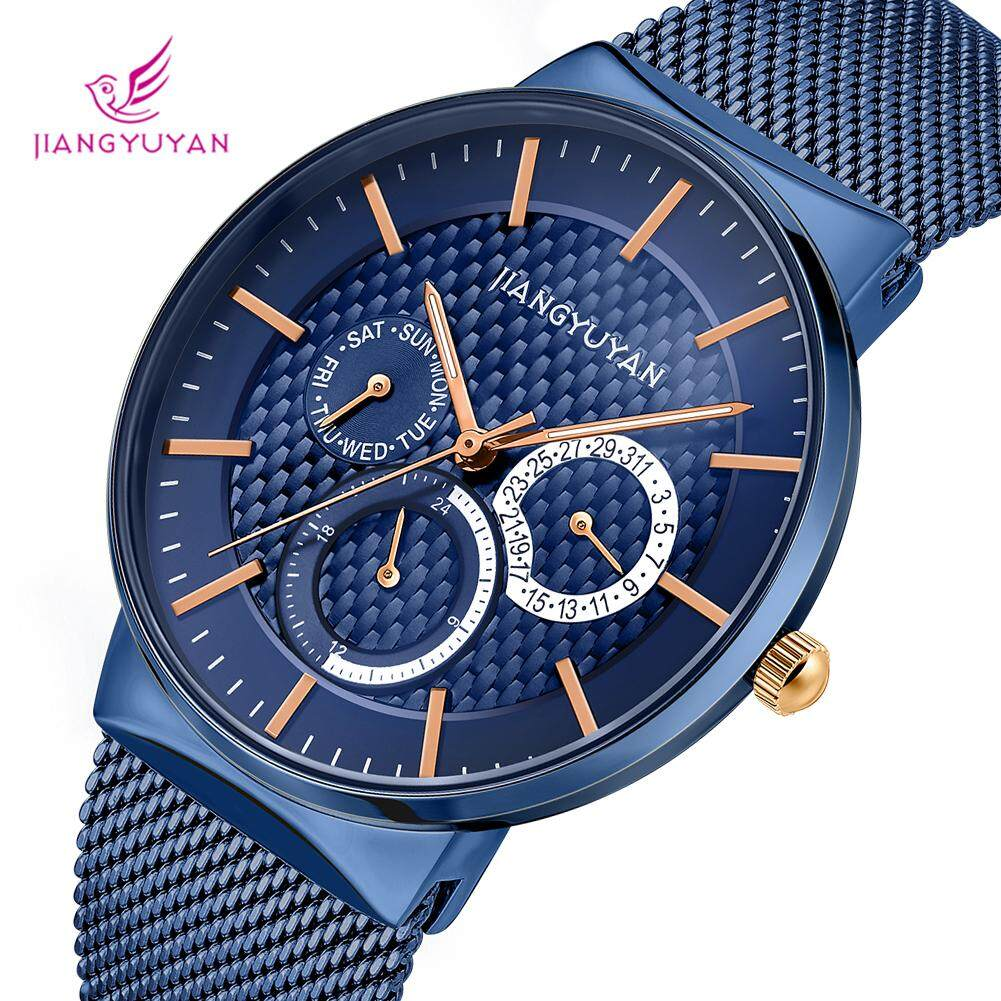 Jiangyuyan นาฬิกาโครโนกราฟชายธุรกิจ Sub Dial Works วันที่สัปดาห์ 24 นาฬิกาควอตซ์นาฬิกาข้อมือ By Xinyangroup.