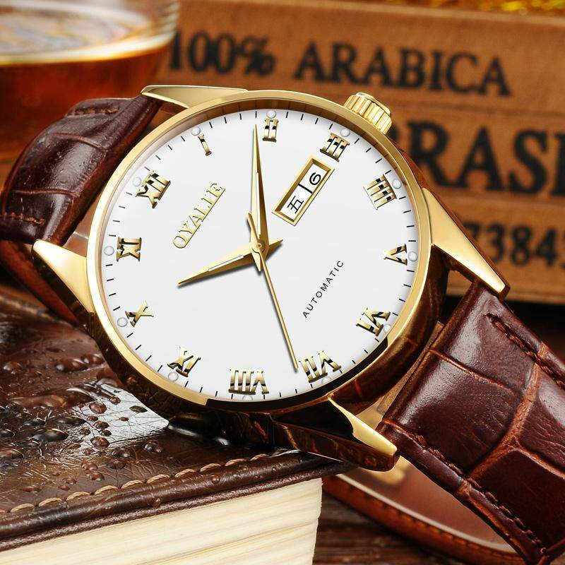 OYALIE Genuine Product Hollow out Analog Watch Fully Automatic Watch Leather Belt Couple Watch a Men And Women Business Waterproof Malaysia