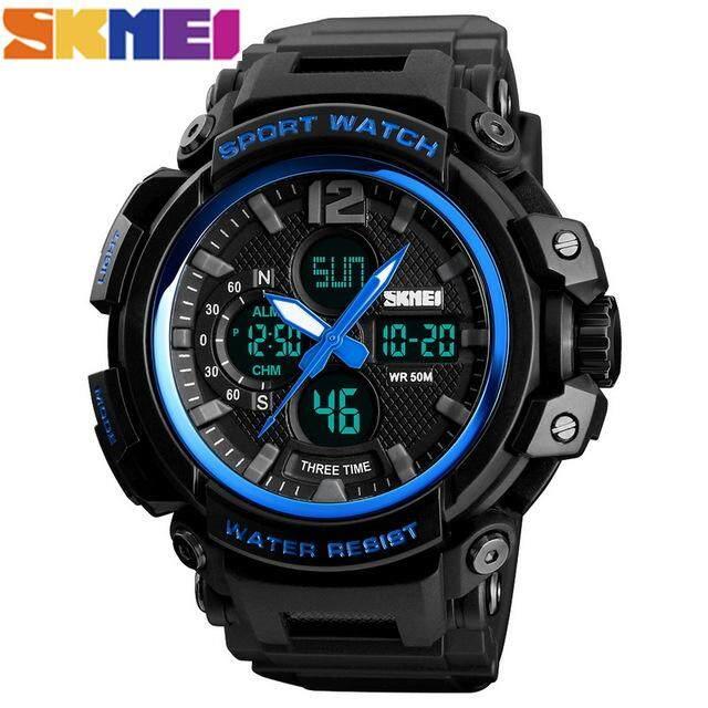 SKMEI 50M Tahan Air Analog LED Jam Digital Baru Olahraga Luar Ruangan Redam Kejut Jam Elektronik Pria Kebugaran Dual Display Multi-Fungsi