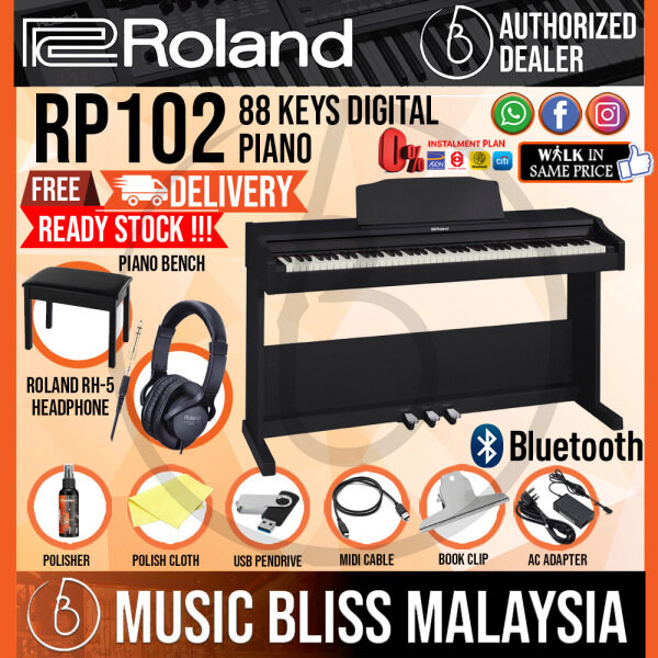 Roland RP102 88-key Digital Piano with FREE Roland RH-5 Headphone and Piano Bench - Black (RP-102 RP 102) Malaysia
