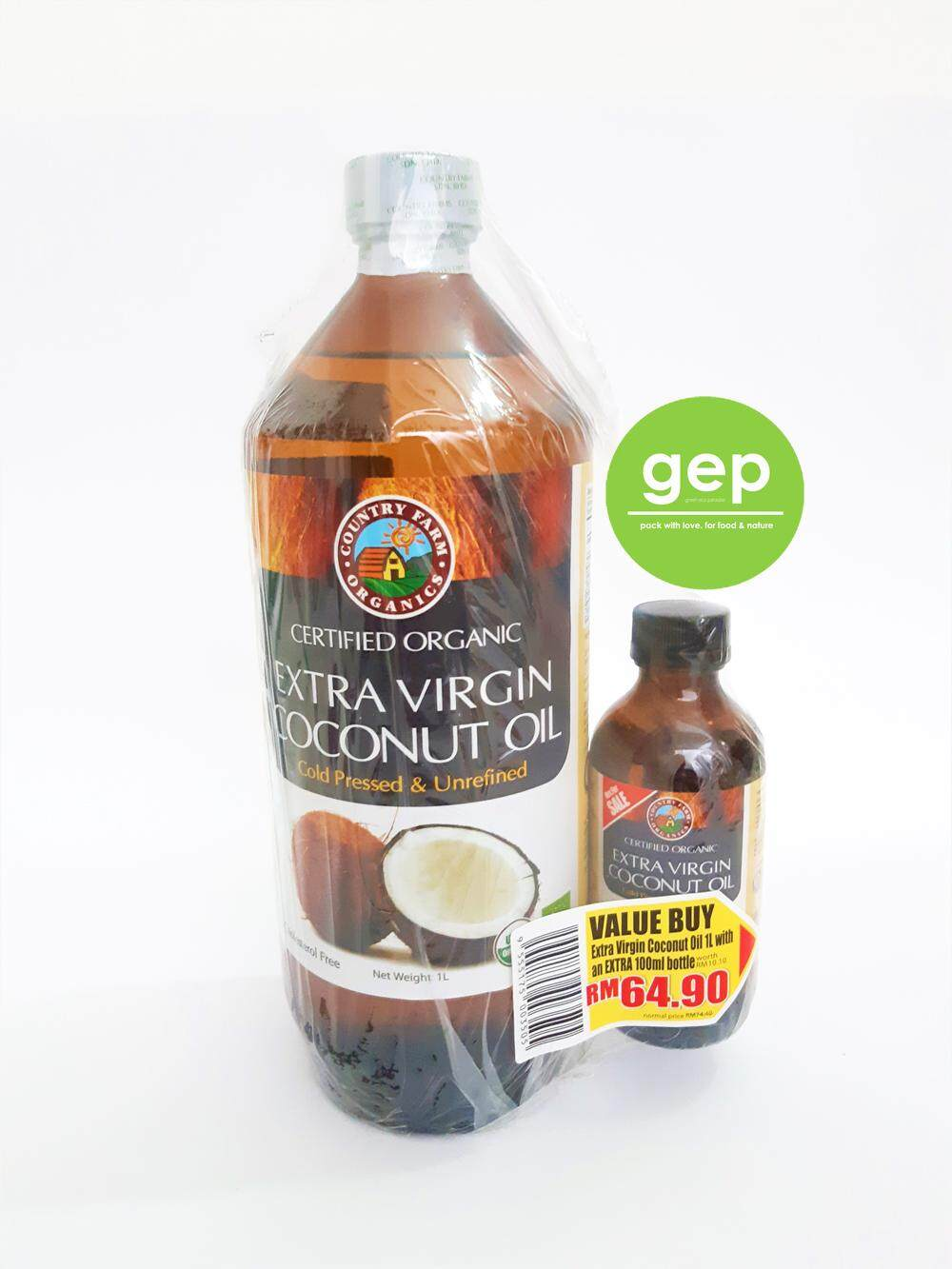 Country Farm Extra Virgin Coconut Oil 1Litre Free 100ml