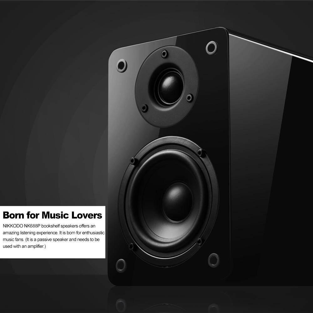 NIKKODO NK-688P Passive Bookshelf Speakers 60W*2 Home Theater Needs Amplifier 4-inch Carbon Fiber Woofer Silk Dome Tweeter, 1 Pair