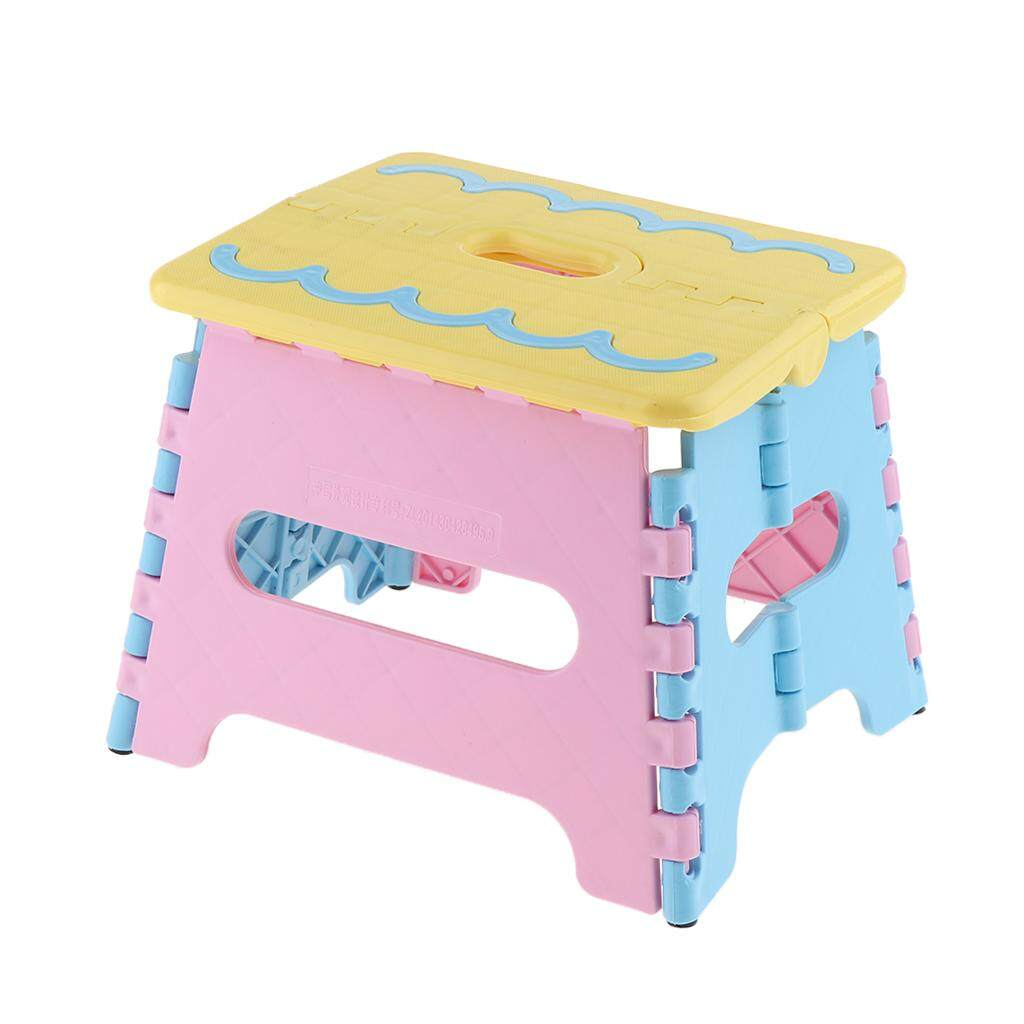 Loviver Portable Folding Step Stool Anti-slip Surface for Kids and Adults with Handle Polypropylene Stool