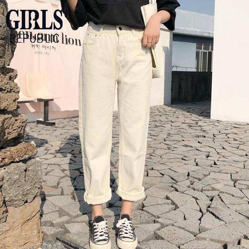 Girls Republic Lowest Price Korean Version Of Ulzzang Loose Jeans Versatile Casual Straight Wide Leg Trousers Tide By Girls Republic.