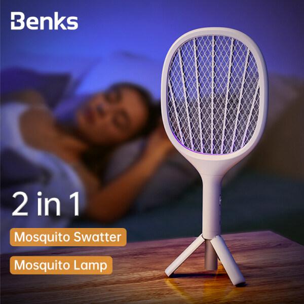 Thiết Bị Diệt Điện USB 2 Trong 1 Của Benks Vỉ Đập Muỗi Vỉ Đập Diệt Bọ Ruồi Đèn LED Chống Muỗi Bẫy Đèn Ngủ Phòng Khách Gia Đình Đuổi Côn Trùng, Giá Đỡ Tam Giác Trong Nhà