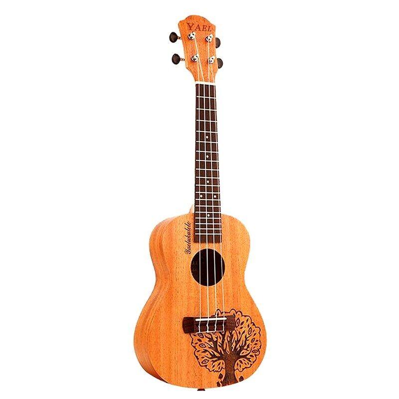 Yael 23 นิ้ว 4 สาย Sapele อูคูเลเล่ Rosewood fretboard ฮาวายมินิกีต้าร์เครื่องดนตรีต้นไม้รูปร่างน่ารักคอนเสิร์ตอูคูเลเล่