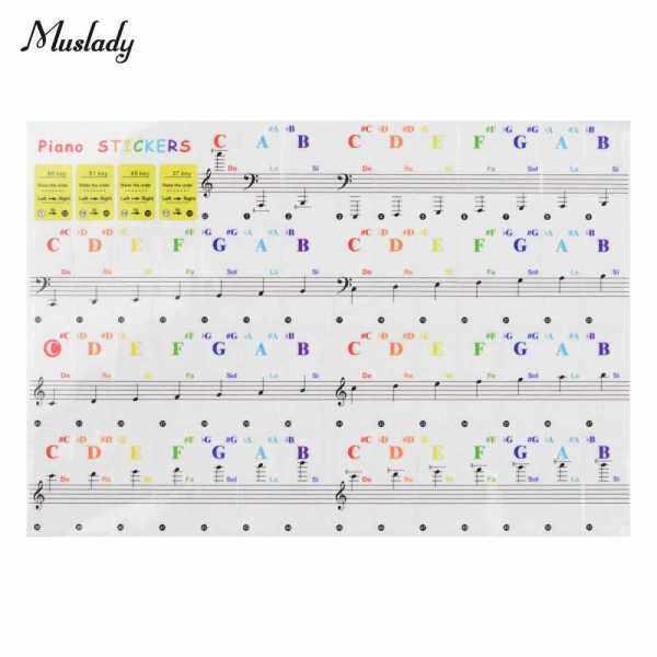 Muslady Piano Key Stickers Piano Keyboard Tune Stickers Kit for 88/ 61/ 54/ 49/ 37 Keys Piano for Beginner (Standard) Malaysia