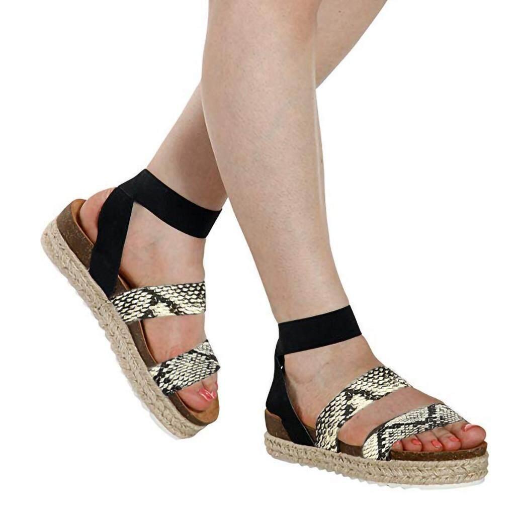 2912083bea Auburyshop Womens Fashion Snake Grain Flat Open Toe Ankle Elastic Band  Straps Roman Sandals【Reference