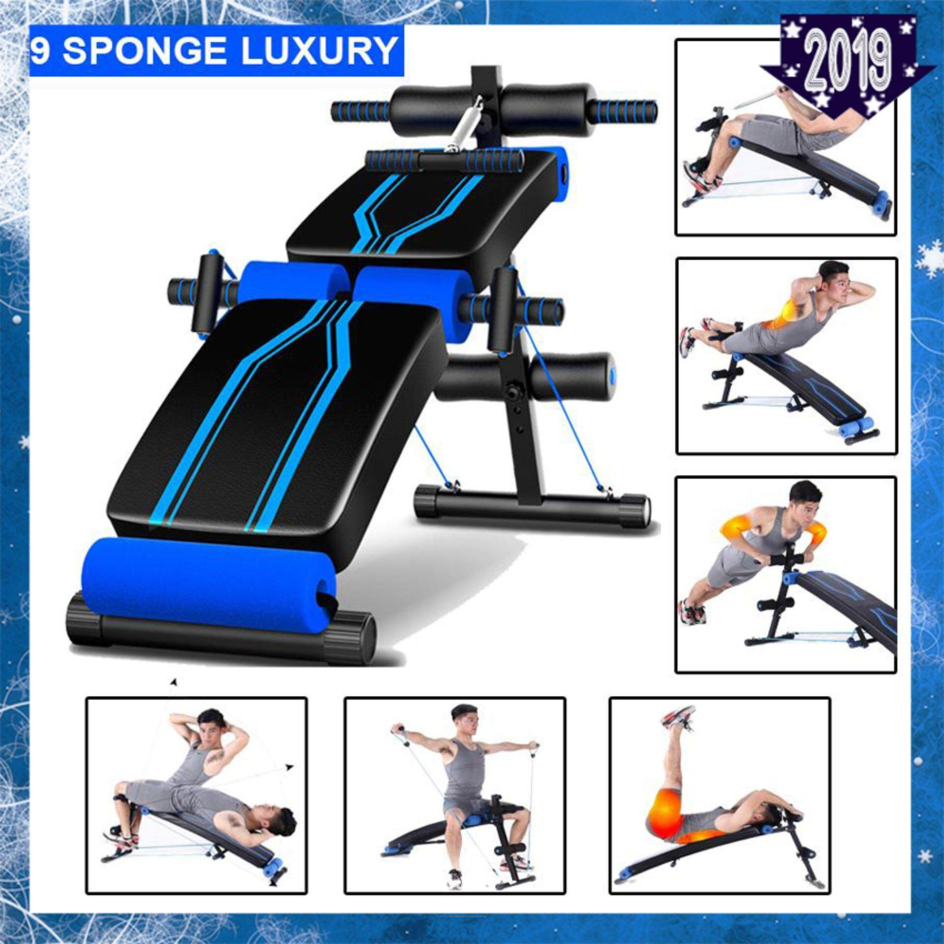 Jianuo 9 Sponge Luxury Multi-Function Fitness Gym Sit Up Bench With Exercise Rope, Spring Pull Exerciser And Push Up Handle By Every1.