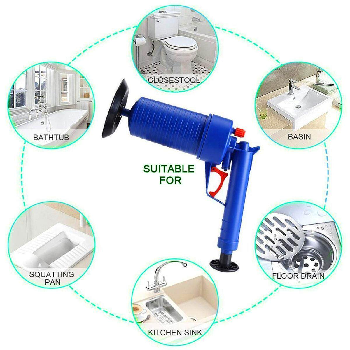 Rubber Toilet Dredge Plug High Pressure Air Pump Blockage Remover Sewer Sinks Blocked Cleaning Plunger Tool w/ 4x Suckers