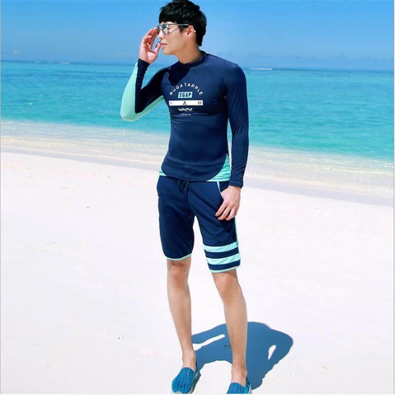 ed59844d1a8 LUOKE 2019NEW 2PEC(top+shorts) Men's Long Sleeve Surfing Suit Dark Blue  Beach