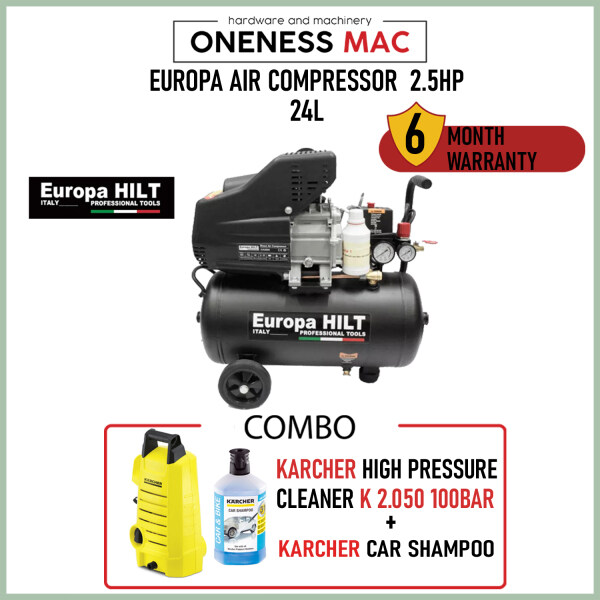 Europa Air Compressor 2.5HP 24L with Karcher K2.050 Pressure Cleaner and Karcher Car Shampoo COMBO