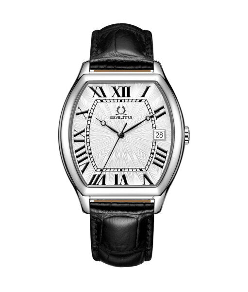 Solvil et Titus W06-03163-001 Mens Quartz Analogue Watch in Silver White Dial and Leather Strap Malaysia