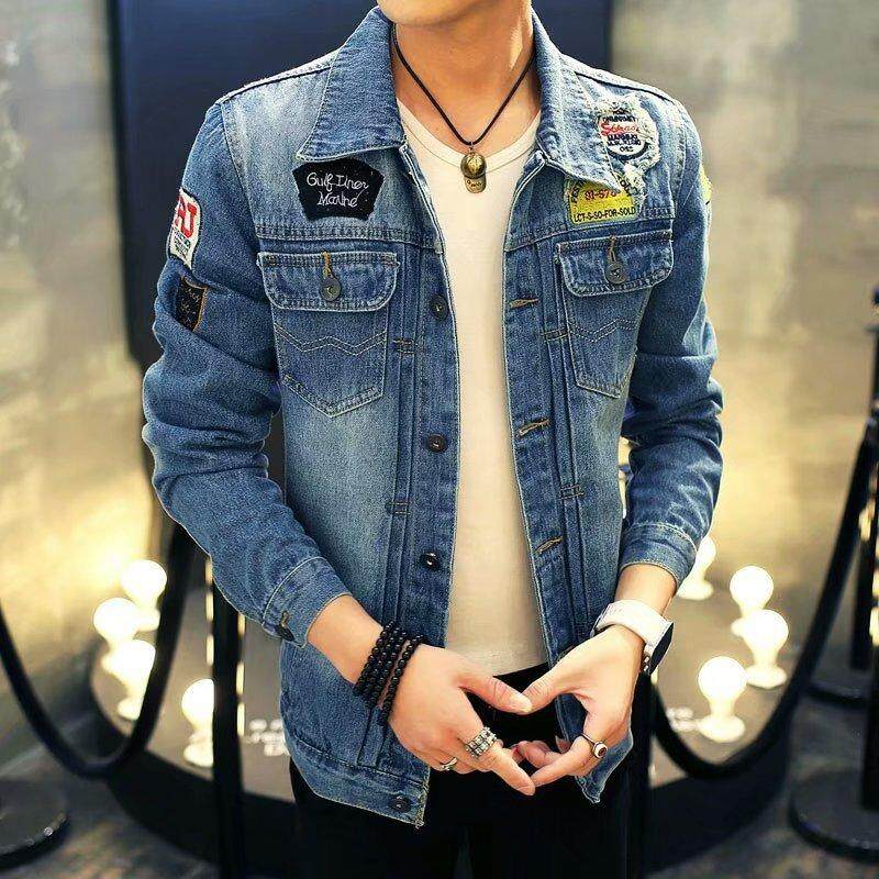 5e45a76ad69 Embroidered Denim Jackets Men Cowboy Bomber Jacket Patches Blue Slim Fit  Men S Ripped Jean Jacket Print