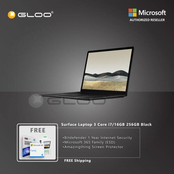 Microsoft Surface Laptop 3 13 Core i7/16GB RAM - 256GB Black - VEF-00037 + Bitdefender 1 Year Internet Security + 365 Family (ESD) + Amazingthing Screen Protector Malaysia