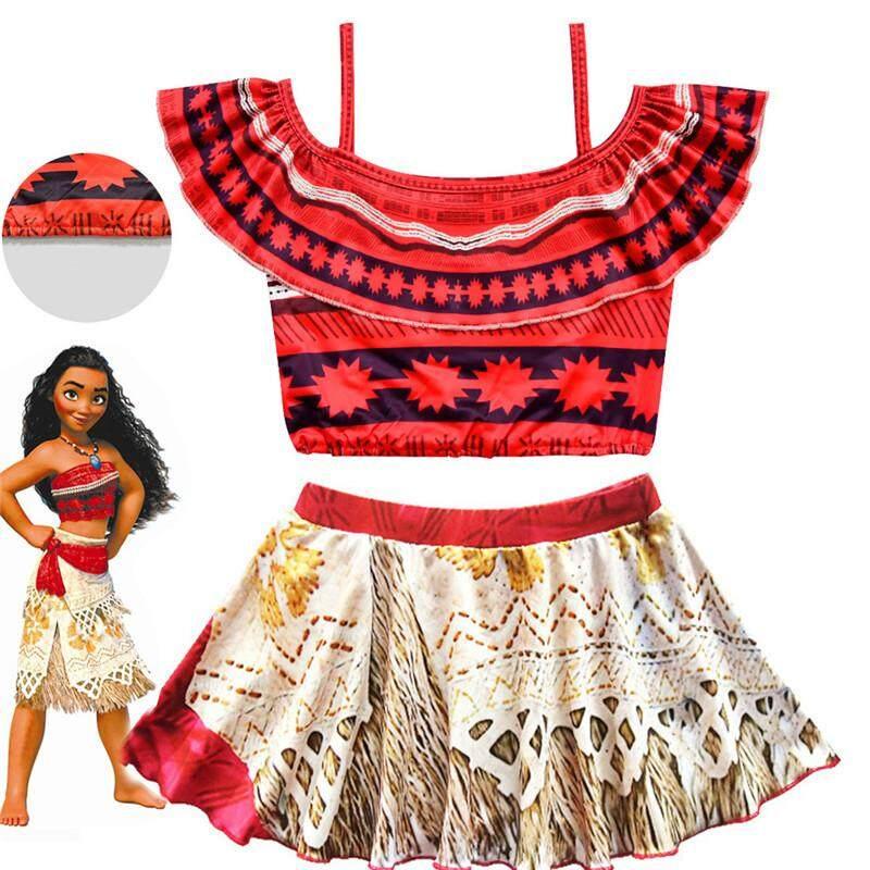cf95af20f6 Specifications of 2019 New Summer Moana Bikini Dress Kids Cosplay Swimming  Girls Princess Dresses Vaiana Children Swimsuit Costume Vestidos 2pcs