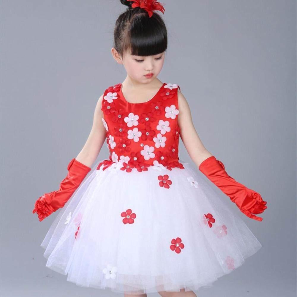 15cceee618 Girls Sweet Big Flower Tulle Tutu Princess Dress Children Romatic Petals  Lower Hem Party Gown Kids Formal Evening Dresses