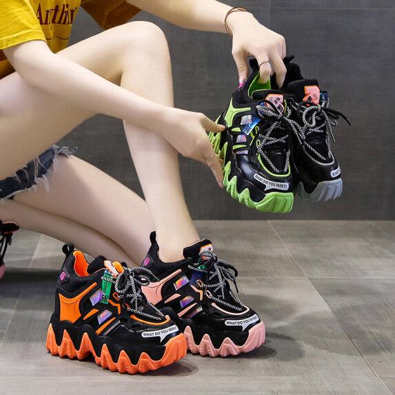 Giày Cao 10Cm/3.9 Inch Giày Sneaker Đế Xuồng Cho Nữ Giày Thể Thao Nữ Giày Thể Thao Thoáng Khí Mùa Hè Giày Nâng Chiều Cao Nền Tảng Muffin Hoang Dã giá rẻ