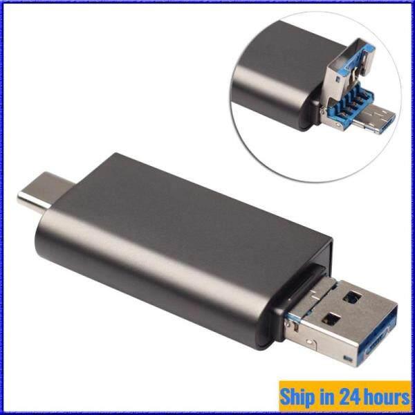 Type C + USB3.0 + Micro USB 3 in 1 OTG Card Reader SD Micro SD SDXC SDHX Memory Card Reader [Ready Stock]