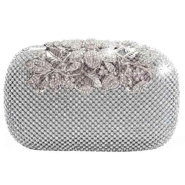 Women Evening Bag 2018 Flower Crystal Clutch Bags Wedding Purse Rhinestones Chain bag Shoulder