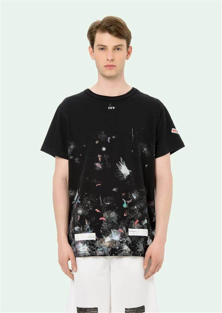 Off White Men T-shirts Tarry Fireworks Cotton Short-sleeved T-shirt Casual f7d12eb5983
