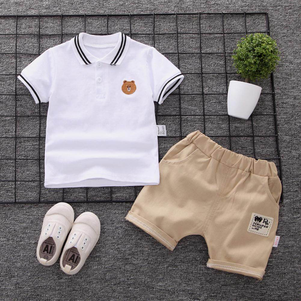 6a2f5c217a57 Kidlove 2pcs/set Baby Boys Cotton Clothing Kids Summer Bear Embroidery Shirt  + Shorts Suit