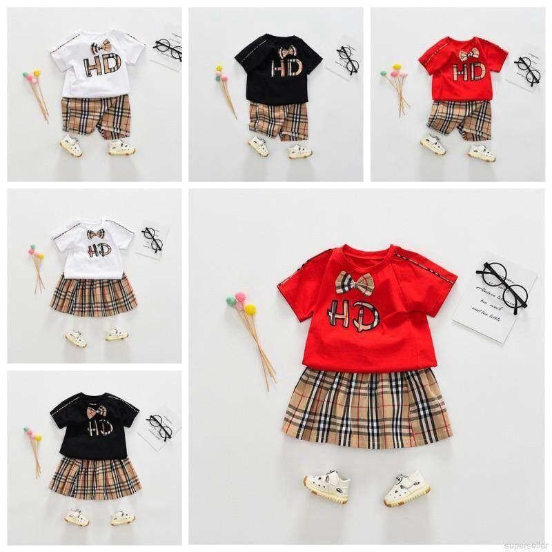 Summer Boys Girls Short Sleeve Letter Print Tops + Plaid Shorts/Skirt  Outfits Sets JS | Lazada