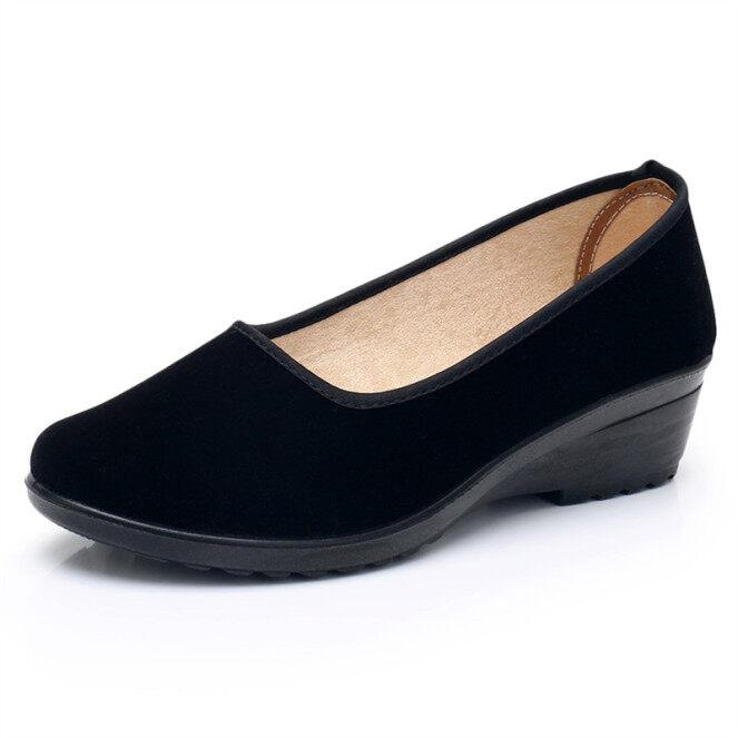 ♛▼ ▼ Giày Vải Bắc Kinh Cổ Giày Của Phụ Nữ Giày Đế Bằng Đơn Giày Công Sở Miệng Nông Giày Nữ Khiêu Vũ Màu Đen Giày Đế Mềm Cho Mẹ, Chống Trượt giá rẻ