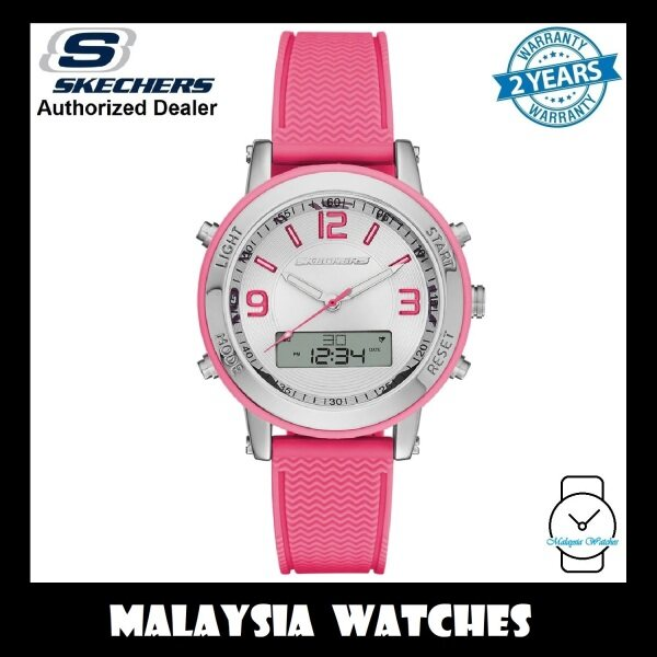 (OFFICIAL WARRANTY) Skechers SR6002 Womens Lynngrove Analog Digital Pink Silicone Strap Sports Watch (2 Years Warranty) Malaysia
