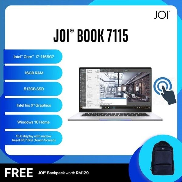 JOI Book Laptop 7115 Touch (Intel Core i7-1165G7 4.70Ghz,512GB SSD,16GB,15.6FHD Touch,W10) Malaysia