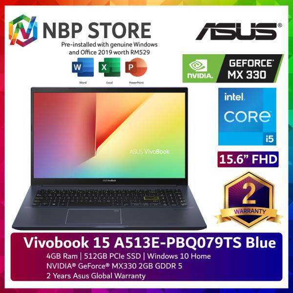 Asus Vivobook 15 A513E-PBQ079TS 15.6 FHD Laptop Cobalt Blue ( i5-1135G7, 4GB, 512GB SSD, MX330 2GB, W10, HS ) Malaysia