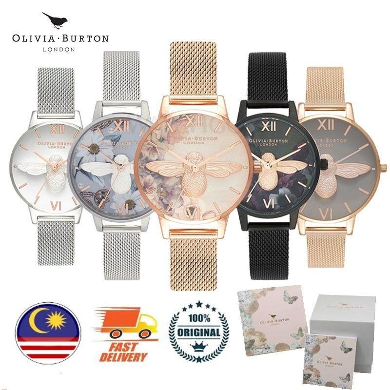 [Authentic] Olivia Burton 3D Bee Midi Silver Rose Gold Black Mesh Women Lady Watch(2 Years Warranty) Malaysia