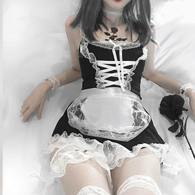 Role Play Cute Women Sexy Lingerie Cosplay French Apron Maid Servant Lolita Hot Costume Babydoll Dress Uniform