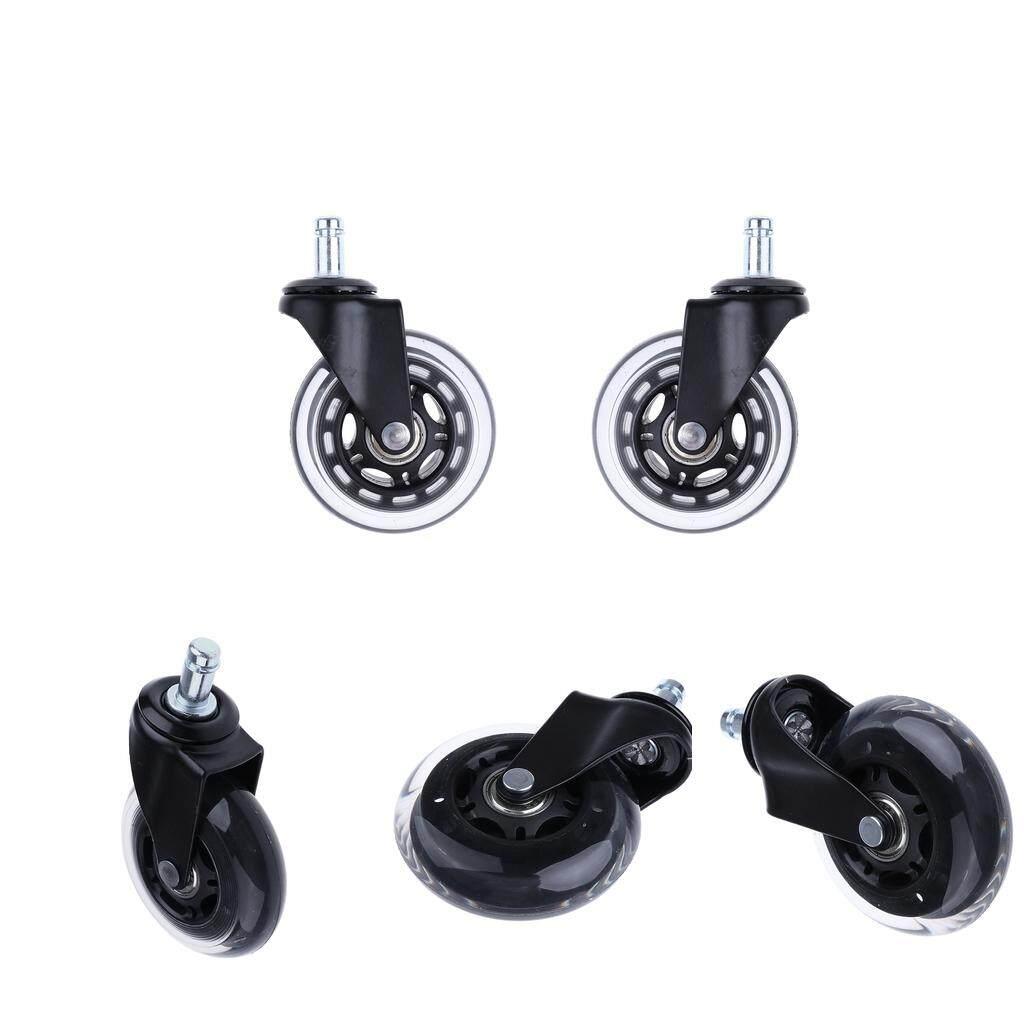 Blesiya 5 Pcs Transparent Swivel Plate PU Caster Wheels for Heavy Duty 3 inch
