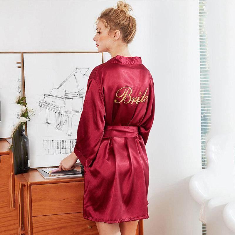 Phụ Nữ mùa hè Lụa Áo Choàng Đồ Ngủ Áo Choàng Tắm thêu Cô Dâu Mini Solid Gợi Cảm Nightrobe Cho Người Phụ Nữ