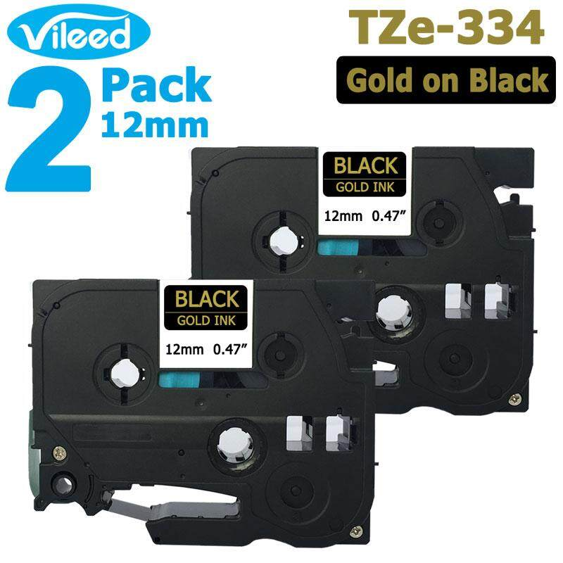 P-Touch Label Tape TZ334 TZe334 12mm 8m Compatible for Brother Gold on Black 2PK