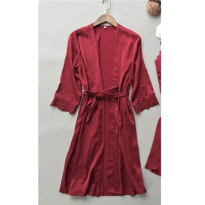 a742a85cd26d Women Short/Long Wedding Party Bridesmaid Robe Women Floral Bathrobe Kimono