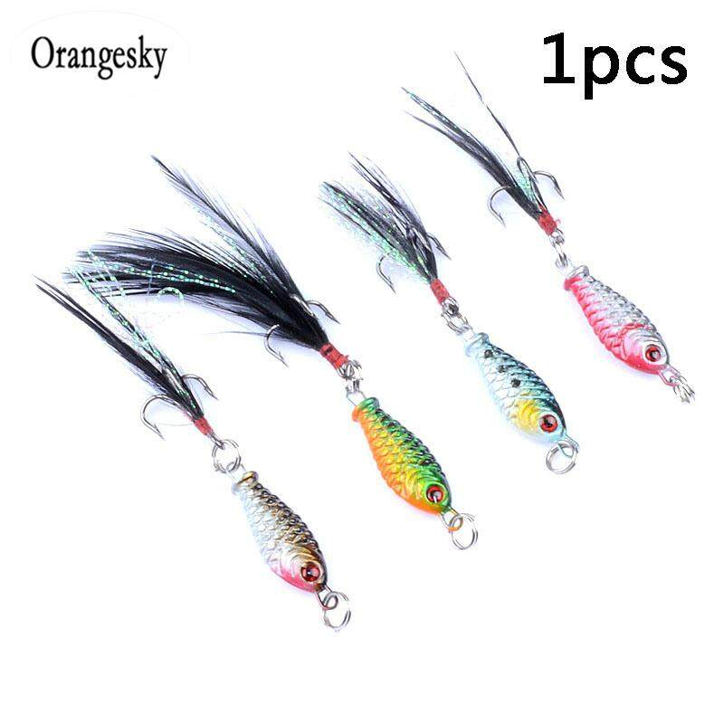 Orangesky Bionic Bait Fishing Lure Artificial 3D Eyes Vivid Color Feather  Tail Lure